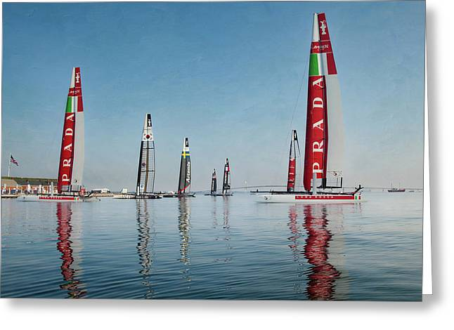 America Cup Boat Reflections Greeting Card