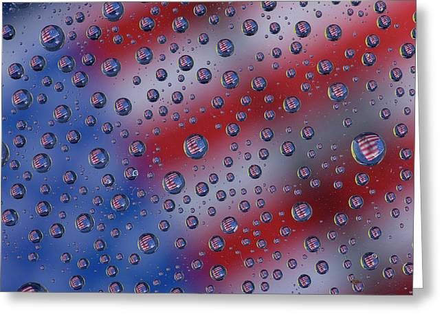 American Flag Reflection In Dew Drops Greeting Card