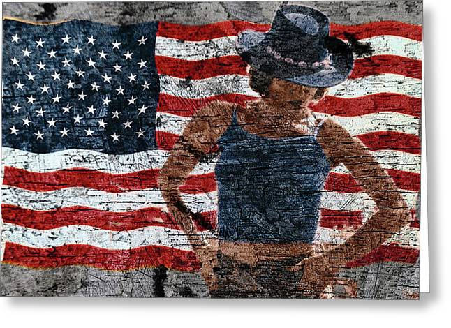 Greeting Card featuring the photograph American Woman Composite by John Rodrigues
