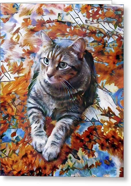 Amos In Flowers Greeting Card