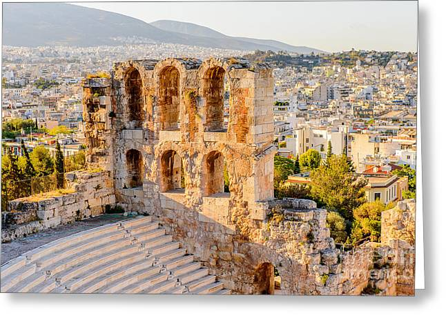 Amphitheater Of The Acropolis Of Greeting Card