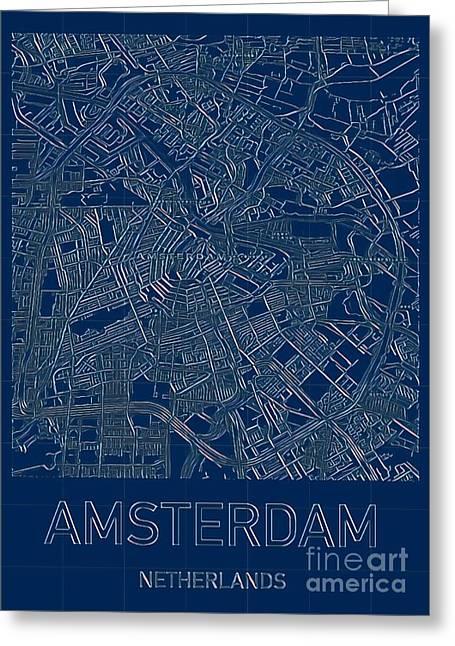 Amsterdam Blueprint City Map Greeting Card