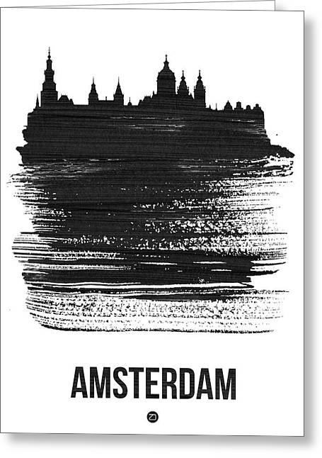 Amsterdam Skyline Brush Stroke Black Greeting Card
