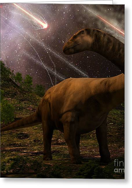 An Apatosaurus Looks Upon Meteors Greeting Card