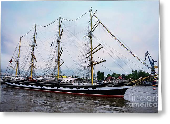 An Exit Sailboat Krusenstern On Parade Greeting Card
