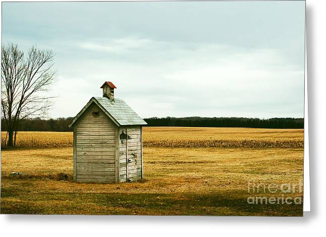 An Old Outhouse In The Middle Of An Greeting Card