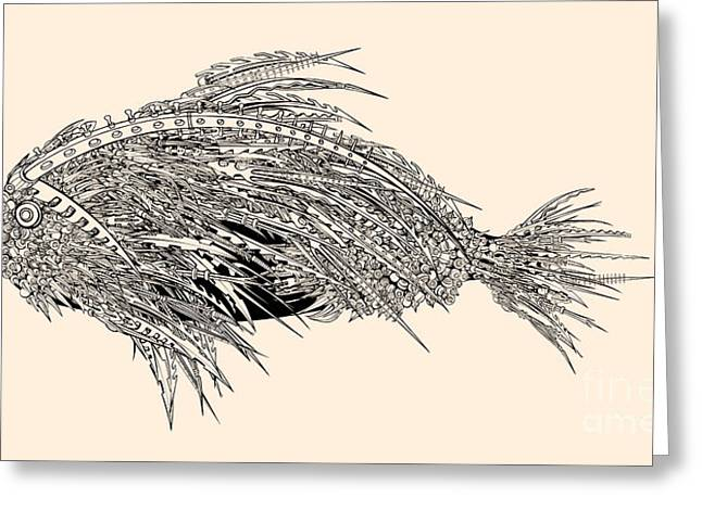 Anatomy Of A Fish. Robot Spiked Fish Greeting Card