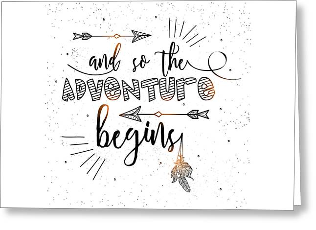 And So The Adventure Begins - Boho Chic Ethnic Nursery Art Poster Print Greeting Card