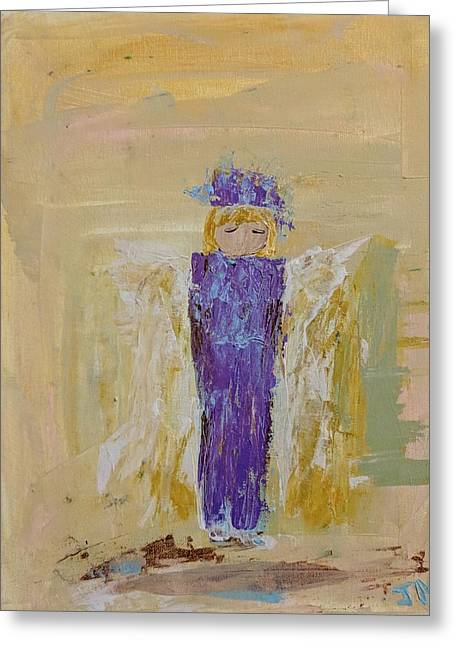 Angel Girl With A Unicorn Greeting Card