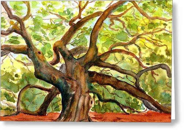 Greeting Card featuring the painting Angel Oak Tree South Carolina by Carlin Blahnik CarlinArtWatercolor