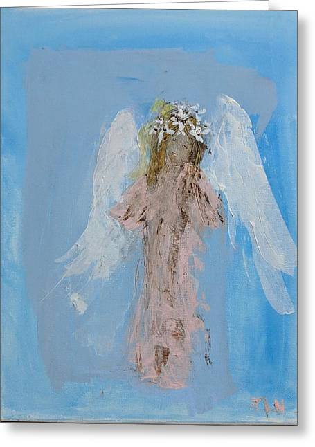 Angel With A Crown Of Daisies Greeting Card
