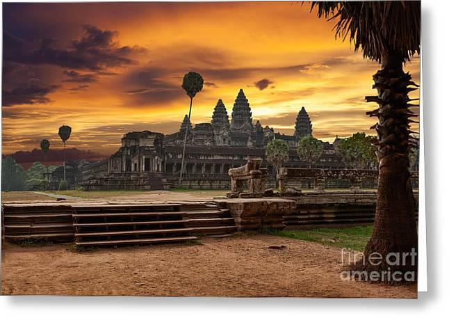 Angkor Wat At Sunset Greeting Card