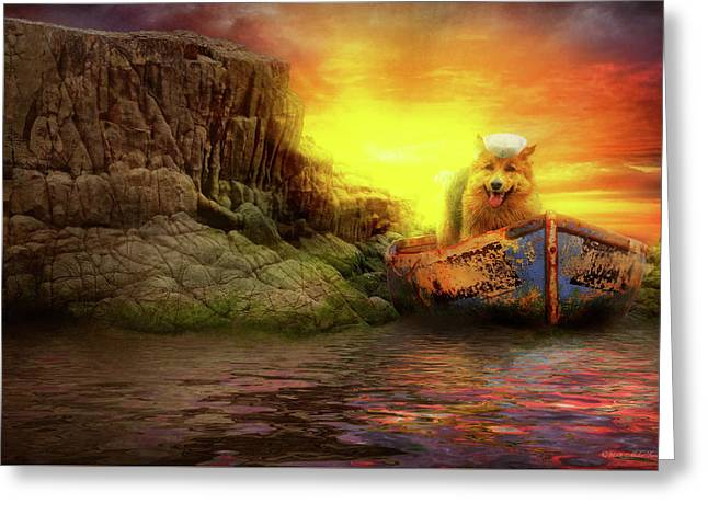 Greeting Card featuring the photograph Animal - Dog - Up The Creek Without A Pawdle by Mike Savad