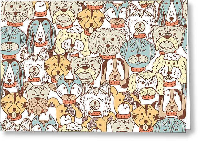 Animals. Dogs Vector Seamless Pattern Greeting Card by Allnikart