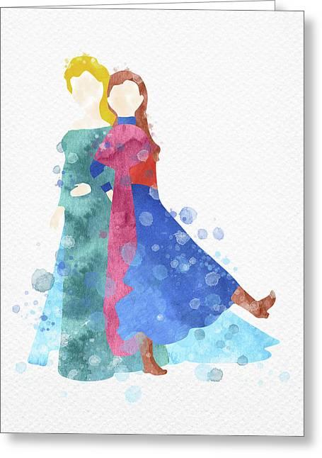 Anna And Elsa Watercolor Greeting Card