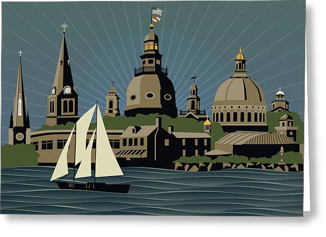 Annapolis Steeples And Cupolas Serenity Greeting Card