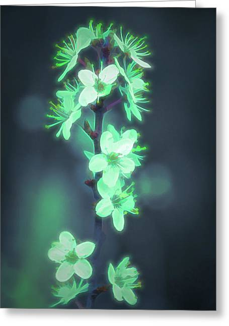 Another World - Glowing Flowers Greeting Card