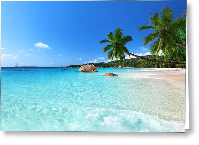 Anse Lazio Beach At Praslin Island Greeting Card