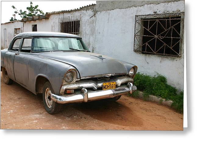 Greeting Card featuring the photograph Antique Car Grey Cuba 11300501 by Rick Veldman