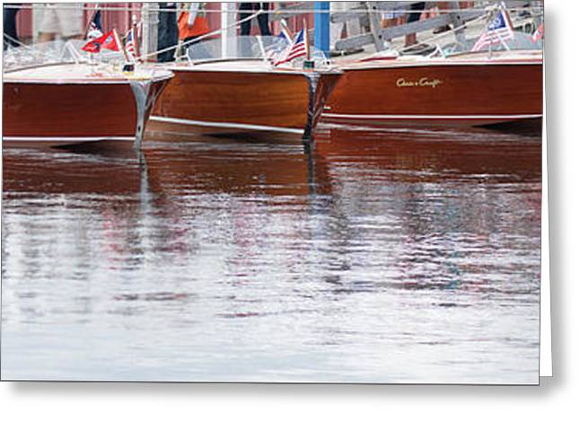 Greeting Card featuring the photograph Antique Classic Wooden Boats In A Row Panorama 81112p by Rick Veldman