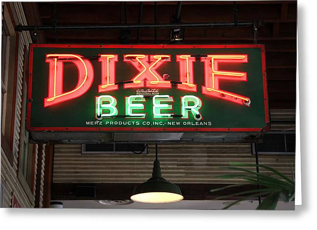 Antique Dixie Beer Neon Sign Greeting Card