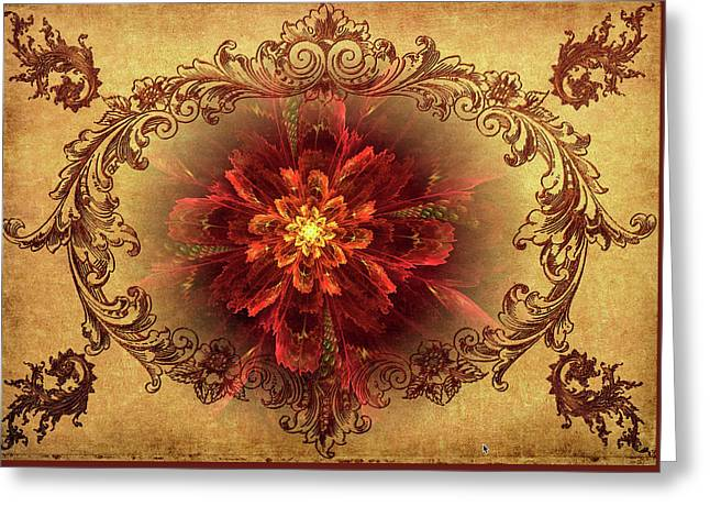 Antique Foral Filigree In Crimson And Gold Greeting Card