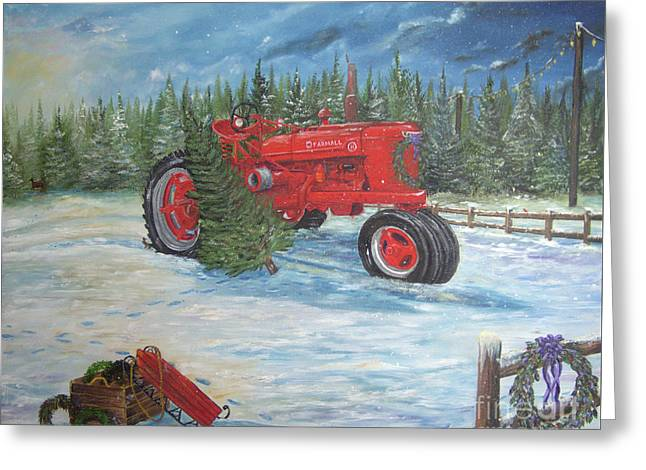 Antique Tractor At The Christmas Tree Farm Greeting Card