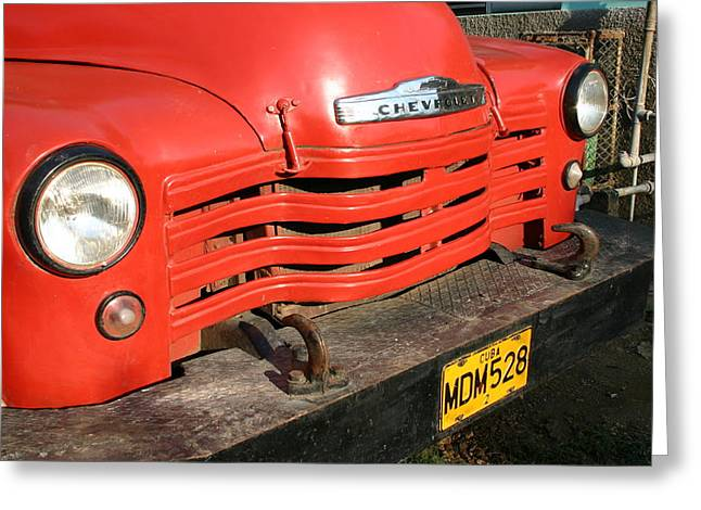 Antique Truck Red Cuba 11300502 Greeting Card
