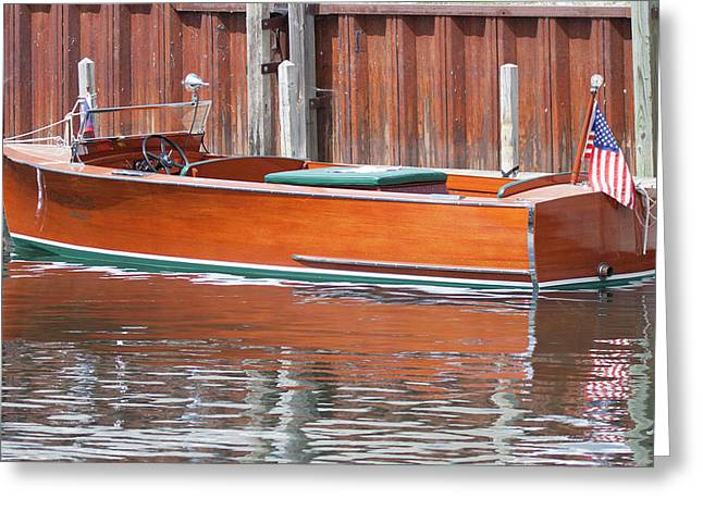 Antique Wooden Boat By Dock 1302 Greeting Card