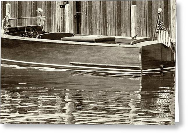 Greeting Card featuring the photograph Antique Wooden Boat By Dock Sepia Tone 1302tn by Rick Veldman
