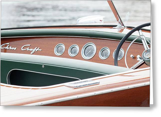 Greeting Card featuring the photograph Antique Wooden Boat Dashboard 1306 by Rick Veldman