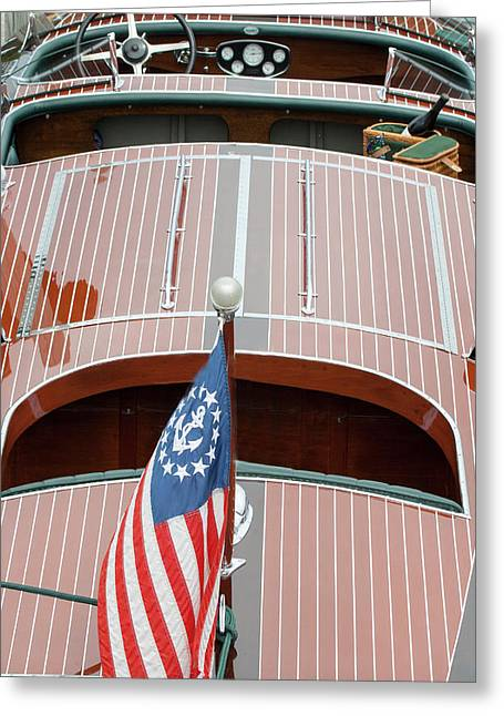 Greeting Card featuring the photograph Antique Wooden Boat With Flag 1303 by Rick Veldman