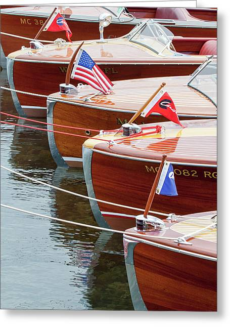 Greeting Card featuring the photograph Antique Wooden Boats In A Row Portrait 1301 by Rick Veldman