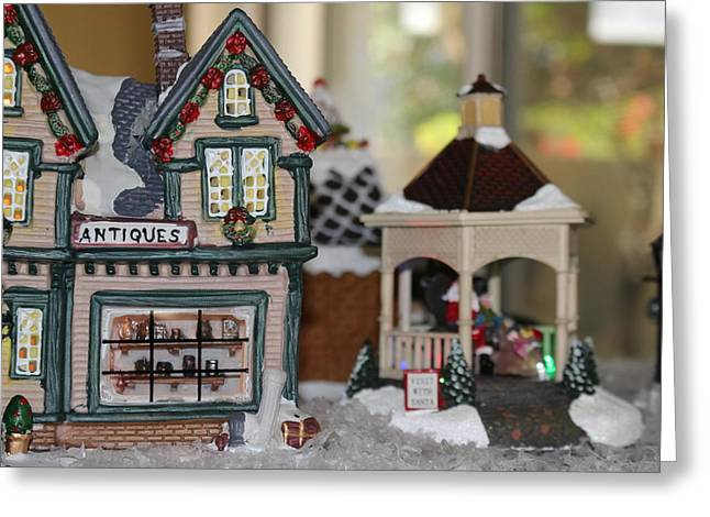 Antiques In Christmas Town Greeting Card