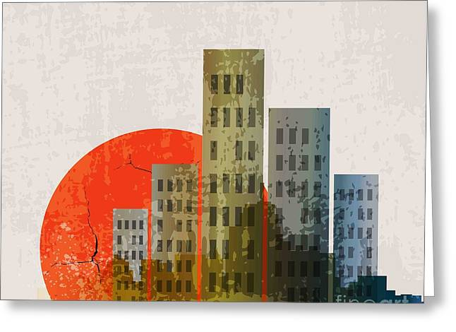 Apocalyptic Retro Poster. Sunset Greeting Card