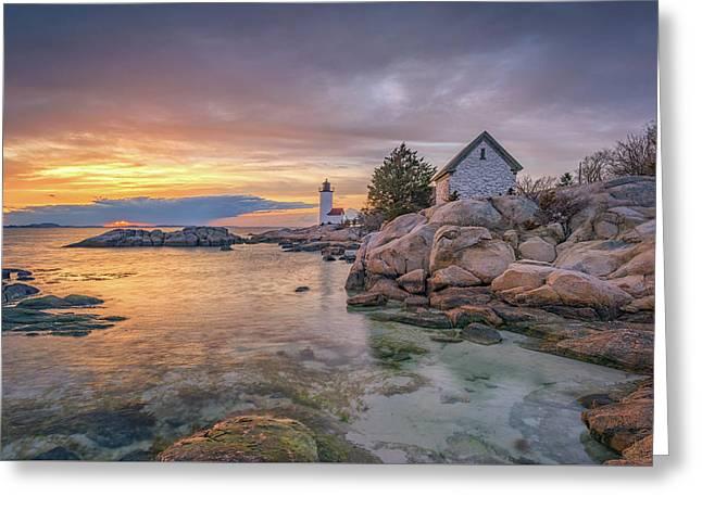 April Sunset At Annisquam Harbor Lighthouse Greeting Card