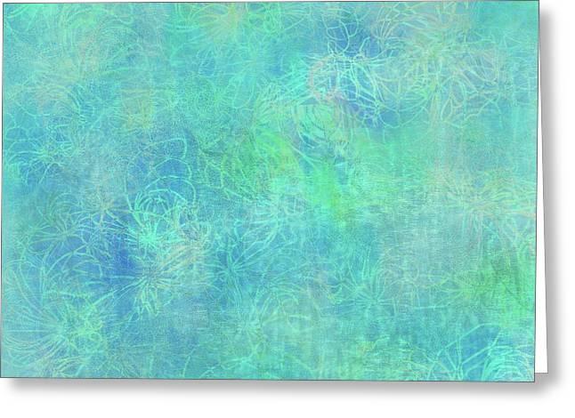 Aqua Batik Print Coordinate Greeting Card