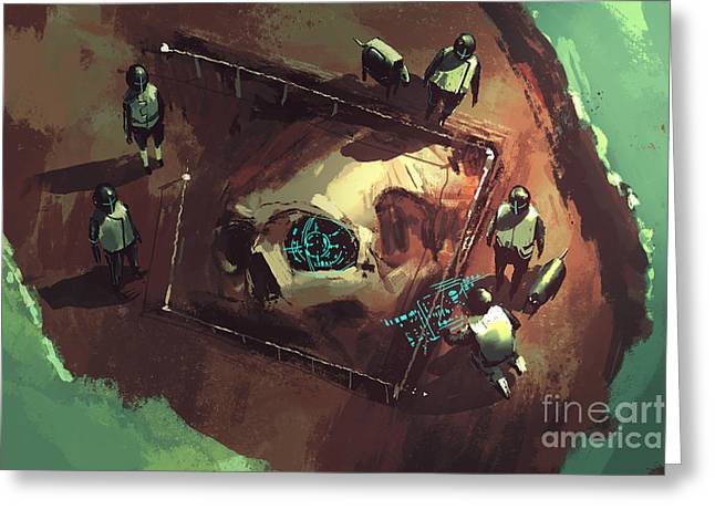 Archeology Dig,giant Skull,sci-fi Greeting Card