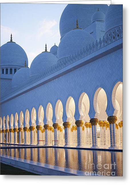Arches Of Grand Mosque Of Abu Dhabi Greeting Card