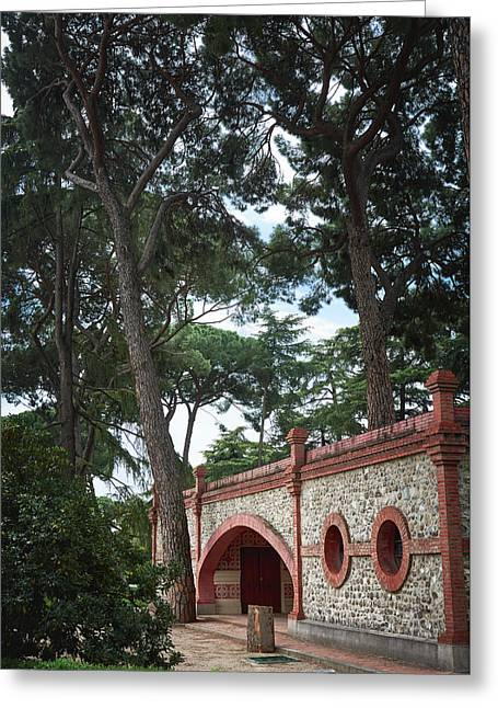 Architecture At The Gardens Of Cecilio Rodriguez In Retiro Park - Madrid, Spain Greeting Card
