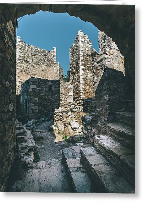 Architecture Of Old Vathia Settlement Greeting Card