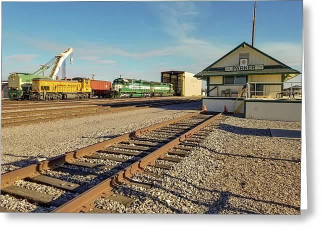 Arizona And California Railroad Headquarters And Engine Yard Greeting Card
