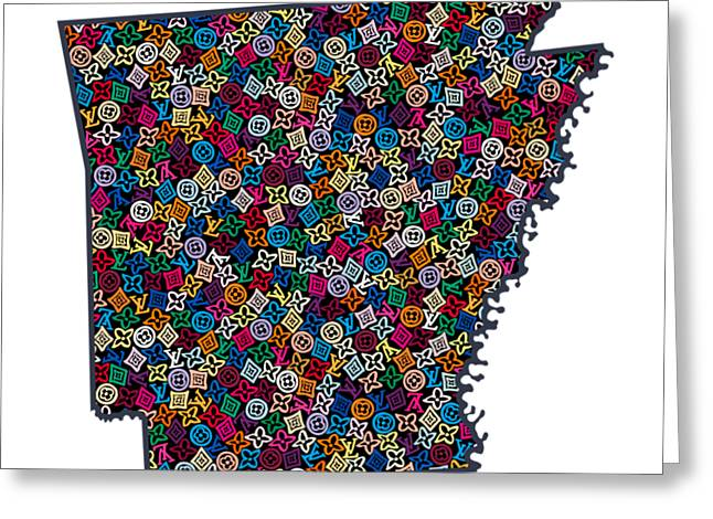 Arkansas Map - 3 Greeting Card