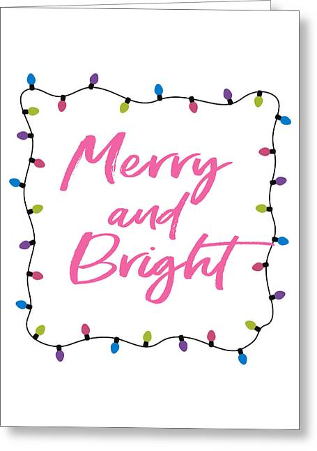 Greeting Card featuring the digital art Merry And Bright -art By Linda Woods by Linda Woods