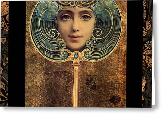 Art Nouveau Handheld Mirror Greeting Card