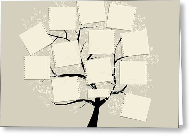 Art Tree With Papers For Your Text Greeting Card