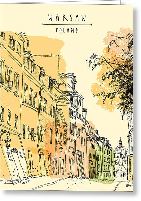 Artistic Illustration Of A Street In Greeting Card
