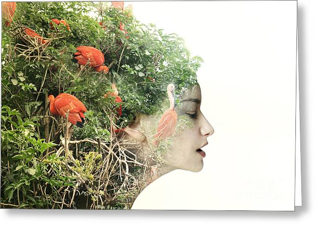 Artistic Surreal Female Profile In A Greeting Card