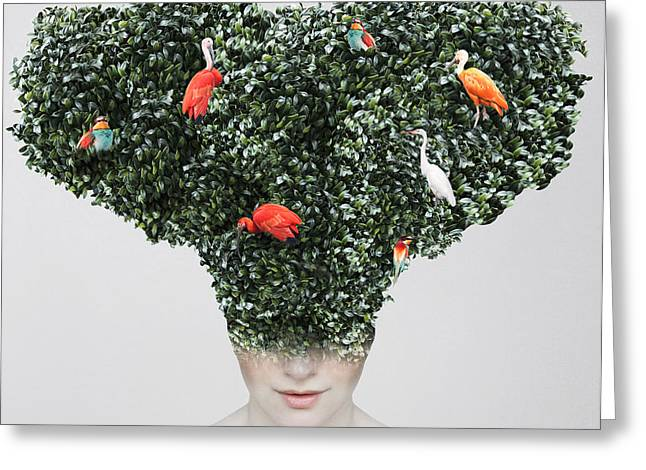 Artistic Surreal Portrait Of A Girl Greeting Card