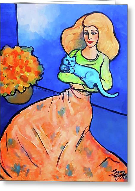 Lady With Blue Cat Greeting Card